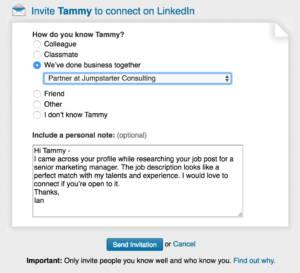 LinkedIn Connection box